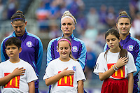 Orlando, FL - Sunday June 26, 2016: Laura Alleway, Kaylyn Kyle, Stephanie Catley, McDonalds escort kids  prior to a regular season National Women's Soccer League (NWSL) match between the Orlando Pride and the Portland Thorns FC at Camping World Stadium.