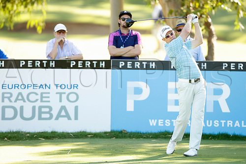 26.02.2016. Perth, Australia. ISPS HANDA Perth International Golf. Brad Kennedy (AUS) plays off the 13th tee during day 2.