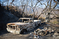 Holly Rd, Santa Barbara, California - Charred remains of burnt pickup truck and motorcycle from Jesusita fire, May 2009