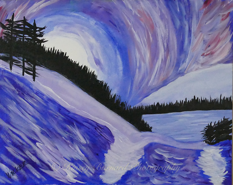 &quot;MIDNIGHT MOUNTAINS&quot; Inspired by an evening in Glacier National Park, this impressionistic painting depicts a rising moon over a wintry forest and frozen lake.<br />