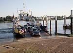 Car ferry arriving at Kinderdijk across the River Lek from Krimpen aan de Lek, near Rotterdam, Netherlands