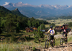 mountain biking, biker, summer, morning,  Rocky Mountains, Estes Park, Colorado, USA