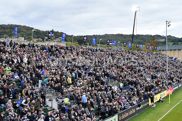 A general view of the Dyson Stand. Aviva Premiership match, between Bath Rugby and Exeter Chiefs on October 17, 2015 at the Recreation Ground in Bath, England. Photo by: Patrick Khachfe / Onside Images