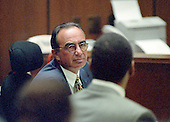 Defense attorney Robert Shapiro during the trial of former NFL star running back O.J. Simpson for the murder of his former wife, Nicole Brown Simpson and a friend of hers, restaurant waiter, Ron Goldman in Los Angeles County Superior Court in Los Angeles, California on July 13, 1995.<br /> Credit: Steve Grayson / Pool via CNP
