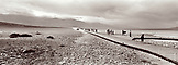 USA, California, Death Valley Nationa Park, people enjoying Badwater Salt Flats (B&W)