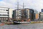 Jeanie Johnston sailing replica wooden ship, Custom House Quay, North Dock, Dublin  Docklands, Ireland, Republic of Ireland