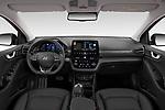 Stock photo of straight dashboard view of 2020 Hyundai Ioniq-Electric Shine 5 Door Hatchback Dashboard