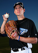 March 1, 2010:  Pitcher Daniel (Dan) Farquhar (72) of the Toronto Blue Jays poses for a photo during media day at Englebert Complex in Dunedin, FL.  Photo By Mike Janes/Four Seam Images