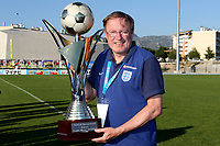 England win the Tournoi Maurice Revello Trophy and Head Coach, Neil Dewsnip proudly holds the Cup during England Under-18 vs Ivory Coast Under-20, Toulon Tournament Final Football at Stade de Lattre-de-Tassigny on 10th June 2017