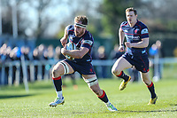 Joe Atkinson of London Scottish during the Greene King IPA Championship match between London Scottish Football Club and Bedford Blues at Richmond Athletic Ground, Richmond, United Kingdom on 25 March 2017. Photo by David Horn / PRiME Media Images.