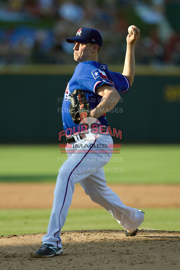 Round Rock Express pitcher Neil Ramirez #54 delivers during the Pacific Coast League baseball game against the Fresno Grizzlies on May 19, 2012 at The Dell Diamond in Round Rock, Texas. The Grizzlies defeated the Express 10-4. (Andrew Woolley/Four Seam Images).