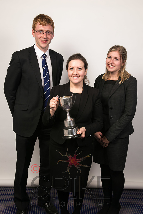 The Hammond Cup prizewinners from left Elliott Moulster of VHS Fletchers, Rebecca Coleman of 1 High Pavement and Laura Such of Cartwright King