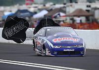 May 1, 2016; Baytown, TX, USA; NHRA pro stock driver Jason Line during the Spring Nationals at Royal Purple Raceway. Mandatory Credit: Mark J. Rebilas-USA TODAY Sports