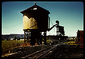 Tank, coaling tower &amp; round house in background. Gunnison.<br /> D&amp;RGW  Gunnison, CO