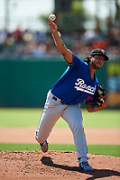Rancho Cucamonga Quakes starting pitcher Chris Mathewson (27) delivers a pitch during a California League game against the Stockton Ports at Banner Island Ballpark on May 17, 2018 in Stockton, California. Stockton defeated Rancho Cucamonga 2-1. (Zachary Lucy/Four Seam Images)