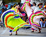 Round Rock Ballet Folklorico dancers at Round Rock Chalk Art Festival in Round Rock Texas