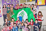 GREENFLAG: On Friday morning the Principal of Ballinfinane NS,  Claire Foley and teacher Noreen Roper who with their pupils hoisted their 2nd Green Flag which was presented to them on Friday.and also they were presented with theaward for science and maths.