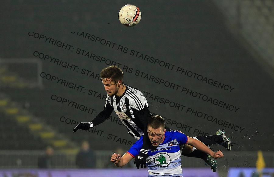 Fudbal Jelen Super League season 2015-2016<br /> Partizan v Borac (Cacak)<br /> Nemanja Petrovic (TOP) and Stefan Vukmirovic<br /> Beograd, 16.12.2015.<br /> foto: Srdjan Stevanovic/Starsportphoto&copy;