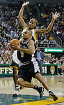 San Antonio Spurs guard Tony Parker of France (F) drives to the basket past Seattle SuperSonics Ray Allen in the second period of their Western Conference Semifinals Game 6 at Key Arena in Seattle, Washington on Thursday 19 May 2005.  . Jim Bryant Photo. ©2010. All Rights Reserved.
