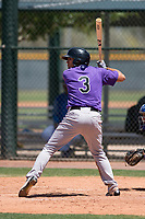 Colorado Rockies shortstop Scott Burcham (3) at bat during an Extended Spring Training game against the Chicago Cubs at Sloan Park on April 17, 2018 in Mesa, Arizona. (Zachary Lucy/Four Seam Images)