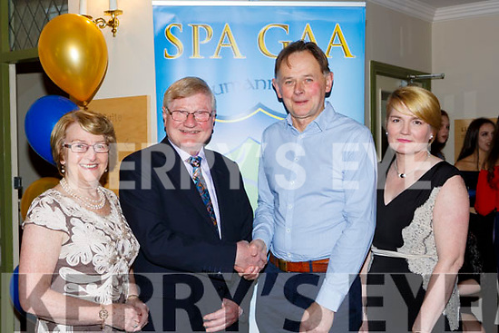 Jim Gleeson is congratulated on his Lifetime acheivement award by new Chairman Michael Cronin at the Spa GAA social in the Torc Hotel on Saturday night l-r: Catherine and Jim Gleeson, Michael Cronin and Anne Holland