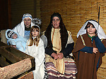Edel Kelly as Mary, Fiarchra Kelly as Baby Jesus, Orla Kelly as an Angel, Michael Bradley as Joseph and Alex Killeen as a shepard at the Live Crib at Ballsgrove church. Photo: Colin Bell/pressphotos.ie