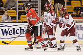 Dennis McCauley (NU - 12), Brian McCafferty (Harvard - 20), Tyler Magura (Harvard - 17) - The Northeastern University Huskies defeated the Harvard University Crimson 3-1 in the Beanpot consolation game on Monday, February 12, 2007, at TD Banknorth Garden in Boston, Massachusetts.