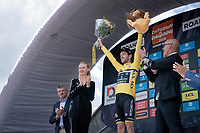 new yellow jersey / GC leader Adam Yates (GBR/Mitchelton-Scott) celebrated on the podium<br /> <br /> Stage 4 (ITT): Roanne to Roanne (26.1km)<br /> 71st Critérium du Dauphiné 2019 (2.UWT)<br /> <br /> ©kramon