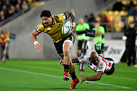 Hurricanes&rsquo; Ben Lam in action during the Super Rugby - Hurricanes v Lions at Westpac Stadium, Wellington, New Zealand on Saturday 5 May 2018.<br /> Photo by Masanori Udagawa. <br /> www.photowellington.photoshelter.com