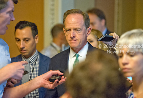 United States Senator Pat Toomey (Republican of Pennsylvania) speaks to reporters after the release of the newest GOP version of the bill to repeal and replace Obamacare in the US Capitol in Washington, DC on Thursday, July 13, 2017.<br /> Credit: Ron Sachs / CNP