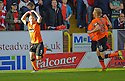 United's John Rankin celebrates after he scores united's first    ...