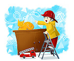 Illustration of boy reaching for cat with fire truck in front representing aspiration