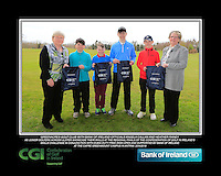 Greenacres GC team with Bank of Ireland Officials Angela Callan and Heather Raney with Junior golfers from across Ulster practicing their skills at the regional finals of the Dubai Duty Free Irish Open Skills Challenge at The CAFRE Greenmount Campus in Antrim. 2/04/2016.<br /> Picture: Golffile | Fran Caffrey<br /> <br /> <br /> All photo usage must carry mandatory copyright credit (© Golffile | Fran Caffrey)