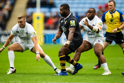1st October 2017, Ricoh Arena, Coventry, England; Aviva Premiership rugby, Wasps versus Bath Rugby; Simon McIntyre in action for Wasps