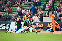 130712 Copyright onEdition 2012 ©.Free for editorial use image, please credit: onEdition..Jordan Burns of Harlequins is tackled by Tom Homer of London Irish at The Stoop, Twickenham in the first round of The J.P. Morgan Asset Management Premiership Rugby 7s Series...The J.P. Morgan Asset Management Premiership Rugby 7s Series kicked off again for the third season on Friday 13th July at The Stoop, Twickenham with Pool B being played at Edgeley Park, Stockport on Friday, 20th July, Pool C at Kingsholm Gloucester on Thursday, 26th July and the Final being played at The Recreation Ground, Bath on Friday 3rd August. The innovative tournament, which involves all 12 Premiership Rugby clubs, offers a fantastic platform for some of the country's finest young athletes to be exposed to the excitement, pressures and skills required to compete at an elite level...The 12 Premiership Rugby clubs are divided into three groups for the tournament, with the winner and runner up of each regional event going through to the Final. There are six games each evening, with each match consisting of two 7 minute halves with a 2 minute break at half time...For additional images please go to: http://www.w-w-i.com/jp_morgan_premiership_sevens/..For press contacts contact: Beth Begg at brandRapport on D: +44 (0)20 7932 5813 M: +44 (0)7900 88231 E: BBegg@brand-rapport.com..If you require a higher resolution image or you have any other onEdition photographic enquiries, please contact onEdition on 0845 900 2 900 or email info@onEdition.com.This image is copyright the onEdition 2012©..This image has been supplied by onEdition and must be credited onEdition. The author is asserting his full Moral rights in relation to the publication of this image. Rights for onward transmission of any image or file is not granted or implied. Changing or deleting Copyright information is illegal as specified in the Copyright, Design and Patents Act 1988. If you are in any way unsure of your right to publish this image