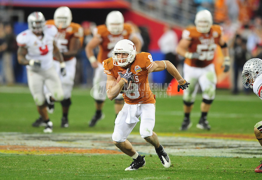 Jan. 5, 2009; Glendale, AZ, USA; Texas Longhorns wide receiver Jordan Shipley (8) against the Ohio State Buckeyes during the Fiesta Bowl at the University of Phoenix Stadium. Mandatory Credit: Mark J. Rebilas-
