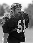Oakland Raiders training camp August 10, 1982 at El Rancho Tropicana, Santa Rosa, California.   Oakland Raiders linebacker Bob Nelson (51).