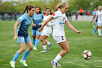 Piscataway, NJ - Sunday April 30, 2017: Kelley O'Hara, Brittany Ratcliffe during a regular season National Women's Soccer League (NWSL) match between Sky Blue FC and FC Kansas City at Yurcak Field.