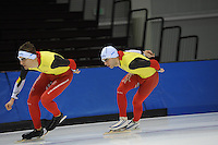 SCHAATSEN: SALT LAKE CITY: Utah Olympic Oval, 12-11-2013, Essent ISU World Cup, training, Ferre Spruyt (BEL), Wannes van Praet (BEL), ©foto Martin de Jong