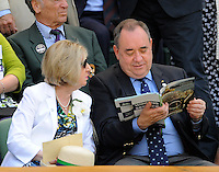 OIC - ENTSIMAGES.COM -  Alex Salmond watches Andy Murray of Great Britain celebrates his win in the Gentlemen's Singles Final match against Novak Djokovic of Serbia of the Wimbledon Lawn Tennis Championships at the All England Lawn Tennis and Croquet Club 7th July 2013     Photo Ents Images/OIC 0203 174 1069