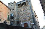 Historic palace buildings in medieval old town, Caceres, Extremadura, Spain
