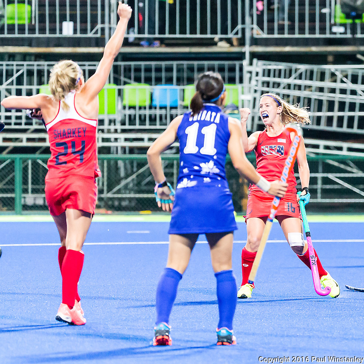 Katie Bam #16 of United States celebrates scoring during USA vs Japan in a Pool B game at the Rio 2016 Olympics at the Olympic Hockey Centre in Rio de Janeiro, Brazil.