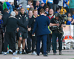 St Johnstone v Celtic....15.09.12      SPL  .Steve Lomas shakes hands with Neil Lennon at the final whistle.Picture by Graeme Hart..Copyright Perthshire Picture Agency.Tel: 01738 623350  Mobile: 07990 594431