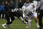 01 March 2015: Duke's Kyle Rowe (28) wins a faceoff against Providence's Cole McCormack (35). The Duke University Blue Devils hosted the Providence College Friars on the West Turf Field at the Duke Athletic Field Complex in Durham, North Carolina in a 2015 NCAA Division I Men's Lacrosse match. Duke won the game 20-8.