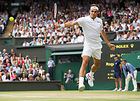 Roger Federer (3) of Switzerland in action during his victory against Marin Cilic (7) of Croatia in their Gentlemen's Singles Final - Federer def Cilic 6-3, 6-1, 6-4<br /> <br /> Photographer Ashley Western/CameraSport<br /> <br /> Wimbledon Lawn Tennis Championships - Day 13 - Sunday 16th July 2017 -  All England Lawn Tennis and Croquet Club - Wimbledon - London - England<br /> <br /> World Copyright &not;&uml;&not;&reg;&not;&uml;&not;&copy; 2017 CameraSport. All rights reserved. 43 Linden Ave. Countesthorpe. Leicester. England. LE8 5PG - Tel: +44 (0) 116 277 4147 - admin@camerasport.com - www.camerasport.com