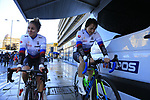 Slovakian riders warm up before the start of the Women Elite Road Race of the UCI World Championships 2019 running 149.4km from Bradford to Harrogate, England. 28th September 2019.<br /> Picture: Eoin Clarke | Cyclefile<br /> <br /> All photos usage must carry mandatory copyright credit (© Cyclefile | Eoin Clarke)