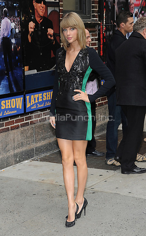NEW YORK, NY - OCTOBER 28: Taylor Swift arrives for an appearance on Late Show with David Letterman in New York City on October 28, 2014. Credit: John Palmer/MediaPunch