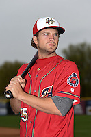 Harrisburg Senators third baseman Cutter Dykstra (15) poses for a photo before a game against the New Britain Rock Cats on April 28, 2014 at Metro Bank Park in Harrisburg, Pennsylvania.  Harrisburg defeated New Britain 9-0.  (Mike Janes/Four Seam Images)