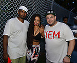 MIAMI, FL - JULY 25: Mike Gardner, Mýa and Phil The Mayor backstage during the Overtown Music and Arts Festival at the historic Overtown district of Miami on Saturday July 25, 2015 in Miami, Florida. ( Photo by Johnny Louis / jlnphotography.com )