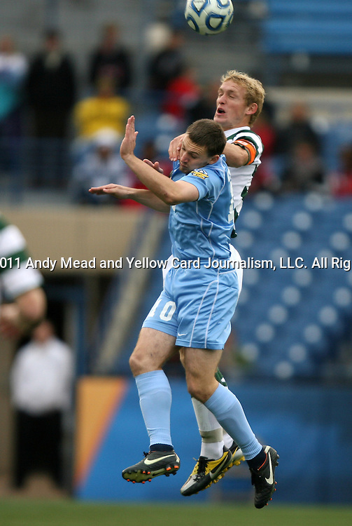 11 December 2011: North Carolina's Billy Schuler (10) and UNCC's Isaac Cowles (behind). The University of North Carolina Tar Heels defeated the University of North Carolina Charlotte 49ers 1-0 at Regions Park in Hoover, Alabama in the NCAA Division I Men's Soccer College Cup Final.